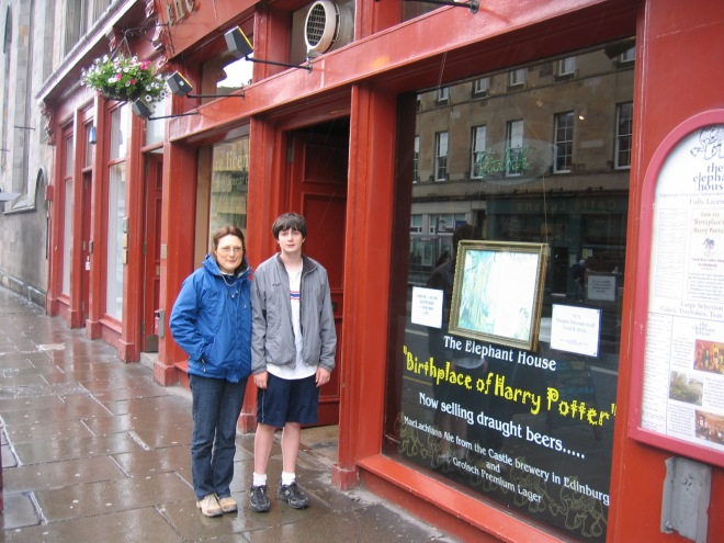 Mike and Mom in front of HP cafe